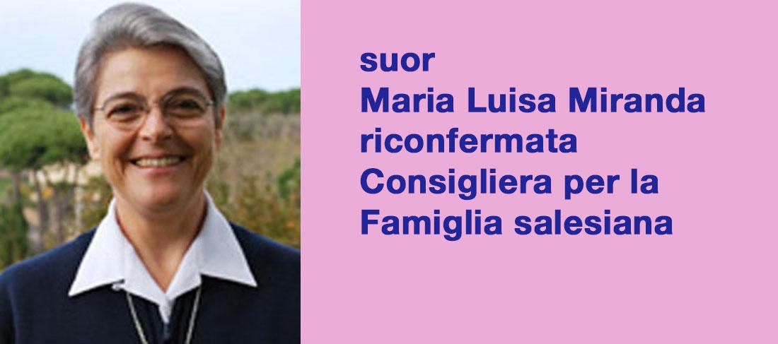 suor Maria Luisa Miranda riconfermata Consigliera per la Famiglia salesiana