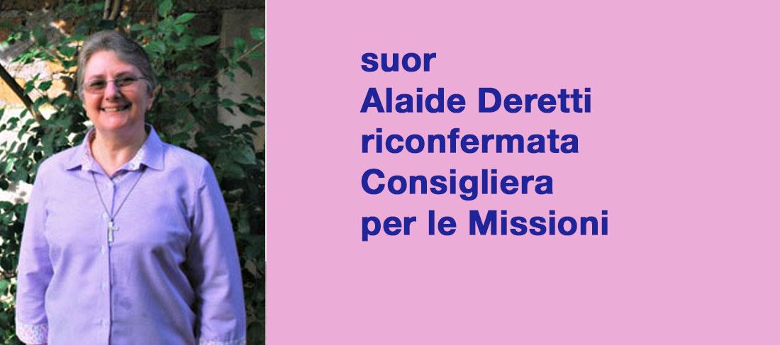 suor Alaide Deretti riconfermata Consigliera per le Missioni